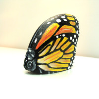 Monarch Butterfly, Hand Painted Rocks, Originals by Shelli Bowler