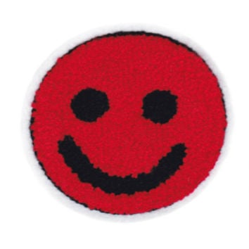 Cute Vintage Style Chenille Red Smiley Face Smile Patch Badge 9.5cm