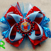 Daniel Tiger's Neighborhood Boutique Hair Bow, tiger ott bow, layered bow for girls