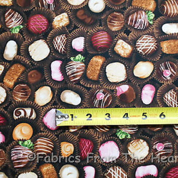 Chocolate Candy The Sweet Shop on Brown BY YARDS Robert Kaufman Cotton Fabric