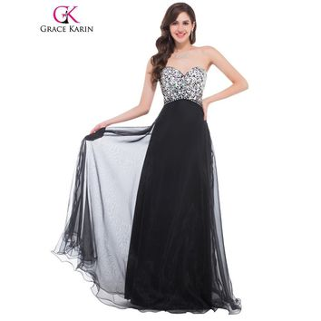 Grace Karin Evening Dress Long Sequin Pink Purple Blue Black Evening Gowns Elegant Formal Night Special Occasion Dresses 2017