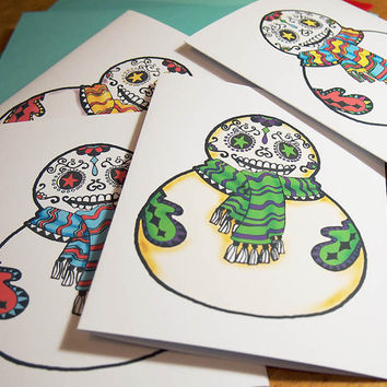 Mexican Snowman Cards. Set of 12 Christmas Holiday Cards.  Cute Snowman Blank Cards. Day of the Dead Christmas Cards.
