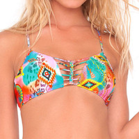 LULI FAMA SWIM BIKINI Boho Chic Strings Braid Criss-Cross Back Sporty Top