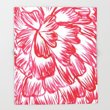 Red and White Dahlia Throw Blanket by Lindsay