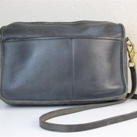 Coach Vintage 1970s Black Leather Cross Body Bag , Serial No 348 3641