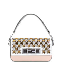 New Baguette Jeweled Shoulder Bag, White/Gray/Multi - Fendi