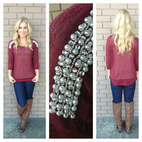 Burgundy Pearl Jam Knit Top