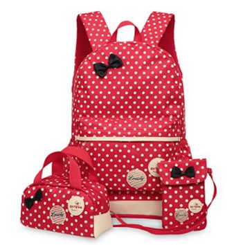 3 Pcs/Set New waterproof Girl School Bags For Teenagers backpack women shoulder bags, Red