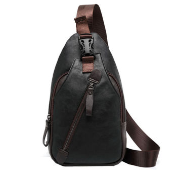 New Men PU Leather Chest Bag High Quality Travel Cross Body Messenger Shoulder Fashion Casual Sling Pack