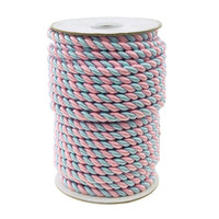 2 Ply Twisted Cord Rope Decorative Pastel Color, 6mm, 25-yard, Light Pink/Light Blue