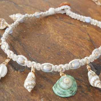 Hemp Anklet, Sea Shells, Hemp Shell Anklet, Blue Czech Glass Beads, Gift for Her, Hemp Jewelry, Beach Jewelry, Handmade Anklet, Mermaid