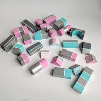 Hand Painted Wooden Building blocks Set of 26 wooden blocks set pink blue gray and sparkly silver