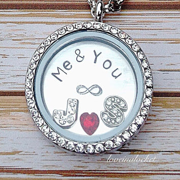Couples Floating Locket, HAND stamped Couple Necklace, Bridal Shower Gift, Wife Gift, Me & You Necklace, Anniversary Gift, Wedding Gift