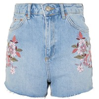 MOTO Floral Embroidery Mom Shorts