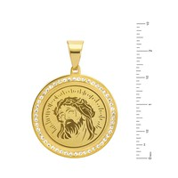 Jewelry Kay style Men's G / S Stainless Steel Iced Jesus Medallion Pendant Chain Necklace SCP 470