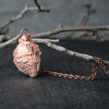 copper nut necklace botanical jewelry electroformed pendant nature summer jewelry gift for women electroplated jewelry