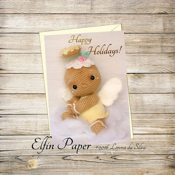 Holiday Printable Greeting Card- Crochet Gingerbread Angel Christmas Card Instant Download