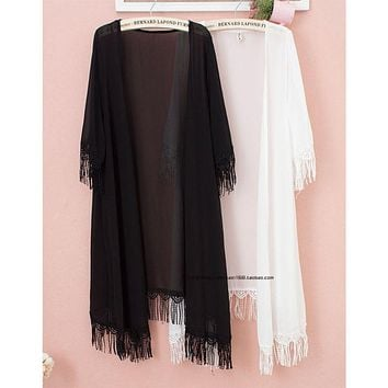 3/4 Sleeve Tassel Swimsuit Cover Up Semi Sheer