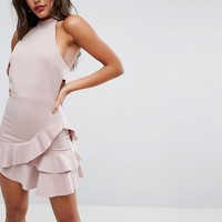 ASOS High Neck Bodycon Pephem Mini Dress at asos.com