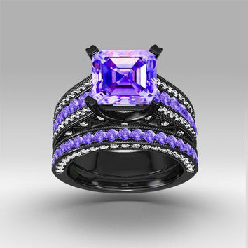 Amethyst And Sapphire Black Gold Ring