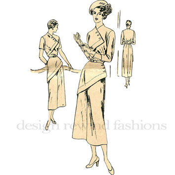 1930s Cocktail Evening Dress- Asymmetrical Wrap Bodice & Hip Closures VOGUE s-4877 Vintage Sewing Pattern Bust 30,36 or 38 UNCUT NO Envelope
