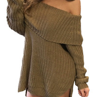 Khaki Thick Knit Side Slit Off Shoulder Sweater