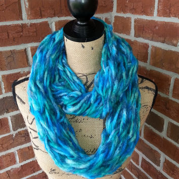 Teal Arm knitted infinity scarf, Teal and blue scarf, aqua scarf, knit scarf, bulky cowl, arm knit scarf