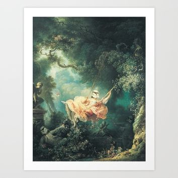 "Homage to Fragonard, ""The Swinging Stormtrooper"". Art Print by Cisternas"