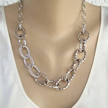 Brighton Set Embossed Rhinestone Loops Necklace Earrings Exqu. cdc3977e63