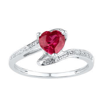 Sterling Silver Womens Heart Lab-Created Ruby Solitaire Diamond Ring 1-1/10 Cttw 101256