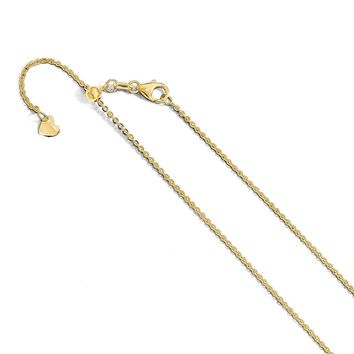 1.4mm 14k Yellow Gold Adjustable Flat Cable Chain Necklace