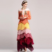 ONETOW ethnic long sleeve colored floral long maxi dress women bird embroidery appliques loose dress