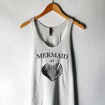 Mermaid at Heart Tank Top in Heather White - Mermaid Shirt with Seashell. Heather White with Black Print - Beach Tank Tops