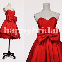 Short Red Lovely Sweetheart Prom Dresses Tull Beautiful Bow Bridesmaid Dresses Ball Gown Cocktail Dresses