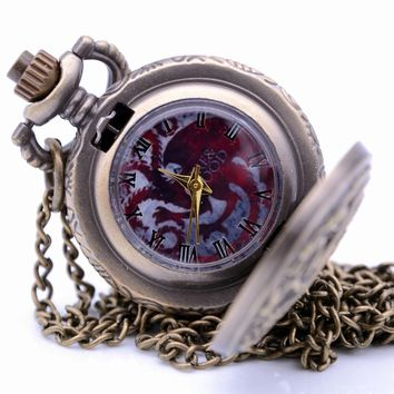 Small Size  House Targaryen Blood and Fire Game of Thrones Mens Quartz Pocket Watch Pendant Necklace Kids Toys relogio de bolso