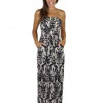Taupe And Black Print Maxi With Pockets