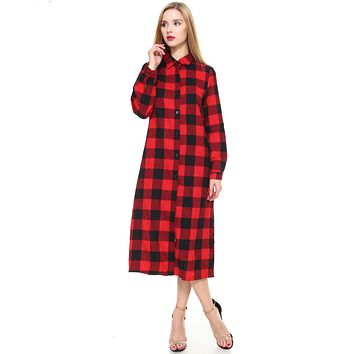 Women big plaid long maxi button-down long sleeve cardigan