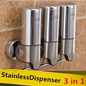 Stainless steel soap liquid hand soap dispenser soap box of hand washing liquid bottle 3in1 bathroom accessories Free shipping