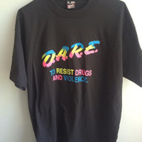 vintage 80s technicolor DARE anti-drug t-shirt