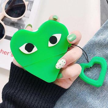 Comme Des Garçon Play Champion Popula Cute Silicone iPhone Airpods Headphone Case Wireless Bluetooth Headphone Protector Case(No Headphones) Green