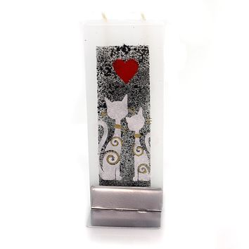 Home Decor Two Cat W/Red Heart Candle Decorative Candle