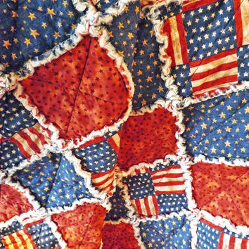 Patriotic Flag Rag Quilt, Fourth of July, Large Lap Quilt