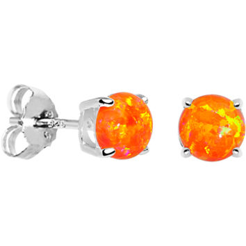 6mm Orange Round Sterling Silver Synthetic Opal Stud Earrings | Body Candy Body Jewelry