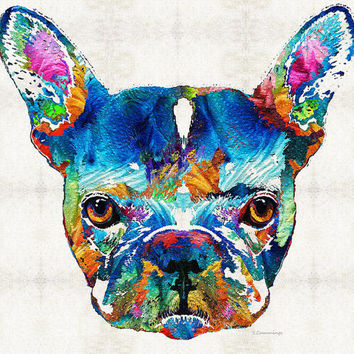 French Bulldog Art PRINT Colorful Dog Animal Rainbow Pet Primary Color Funny Bull Doggies Daycare Cute Frenchie Frenchy CANVAS Veterinarian