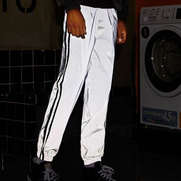 Men Side Stripe Reflective Windbreaker Pants