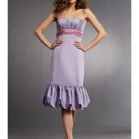 Chic Satin Strapless A-Line Bridesmaid Dress With Ruche Accents And Bubble Hem SB2096