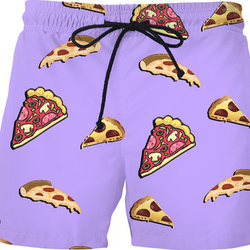 Pizza at pastel purple all-over-print swim shorts, yummy fastfood themed short pants
