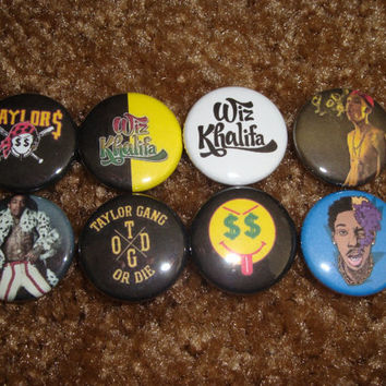 WIZ KHALIFA  Set Of 8 Buttons Pins Badges Taylor by ineedfeedback