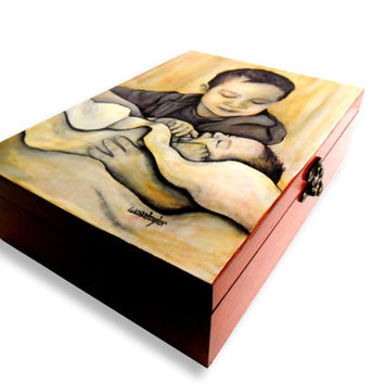 Large Custom Memory Jewelry Box - Wooden Jewelry Box - Memory Box - Hand Painted Storage Box - Memorial Box
