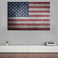 Vintage USA Flag Canvas Wall Art